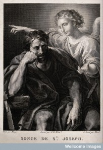 V0034598 The angel speaks to Joseph in a dream. Engraving by F. Morel